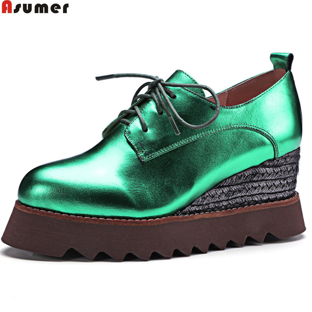 ASUMER green gun fashion new pumps shoes casual spring autumn platform prom shoes women genuine leather wedges high shoes elevator 2015 autumn single shoes women s black genuine leather wedges casual shoes dawdler women s platform shoes