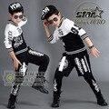 2016 Conjuntos de Roupas de Marca infantil Hop Crianças Jazz Dança Roupas 2 Pcs Meninos Meninas Moda Streetwear Harem Pants Twinset