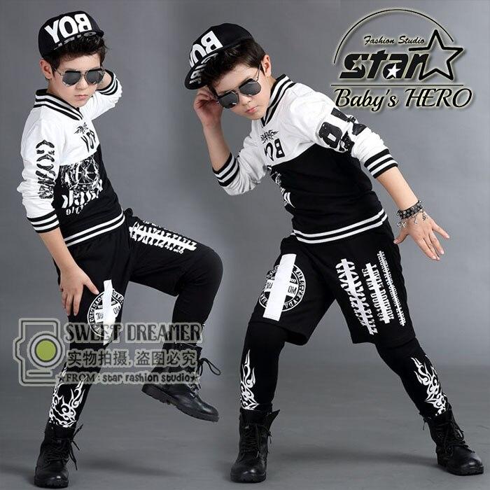 2018 Brand Children's Hip-Hop Clothing Sets Kids Jazz Dance Clothes 2 Pcs Boys Girls Fashion Streetwear Harem Pants Twinset