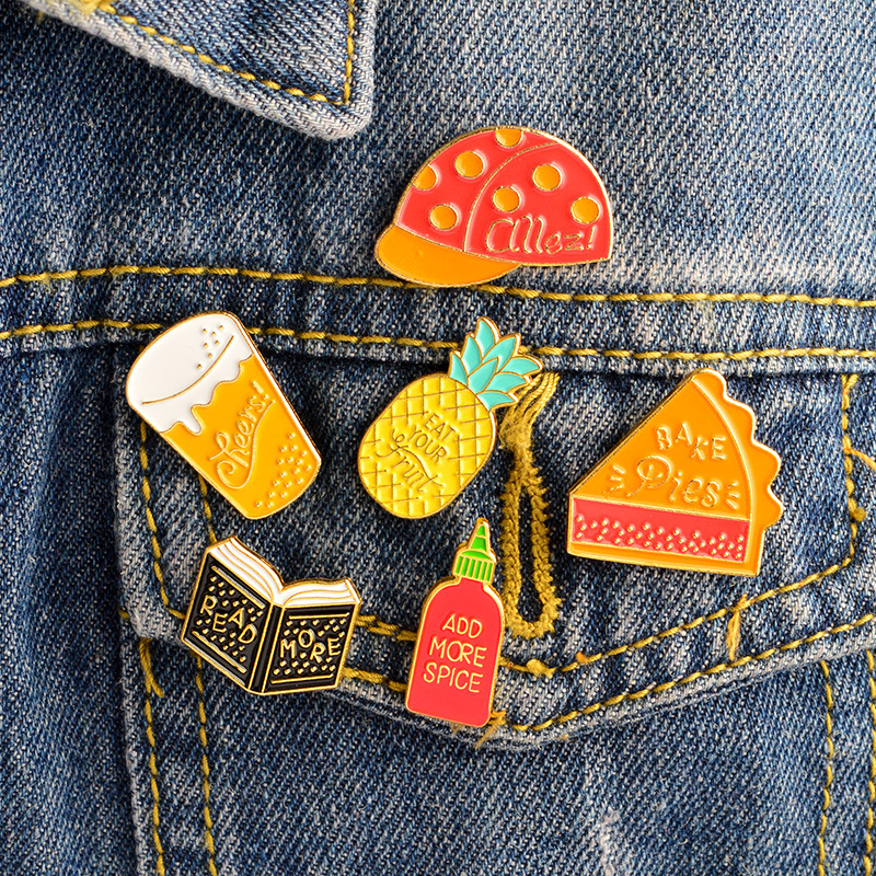 """Cute Enamel Pins Book Pineapple Spice Bottle Pins """"READ MORE,ADD MORE SPICE,EAR YOUR FRUIT"""" Badges Funny Pins Jewelry"""