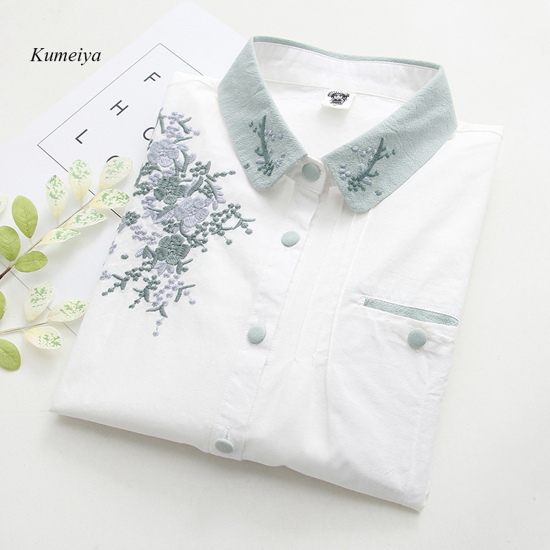 2019 White Embroidery Ladies   Blouse     Shirt   Female Floral Casual Women Tops Long Sleeve   Shirt   Cotton Clothes Autumn Blusas