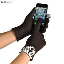 Модные 1 пара элегантные женские зимние теплые экранные перчатки мягкие хлопковые Haling Hands клетчатые женские наручные варежки Juun30