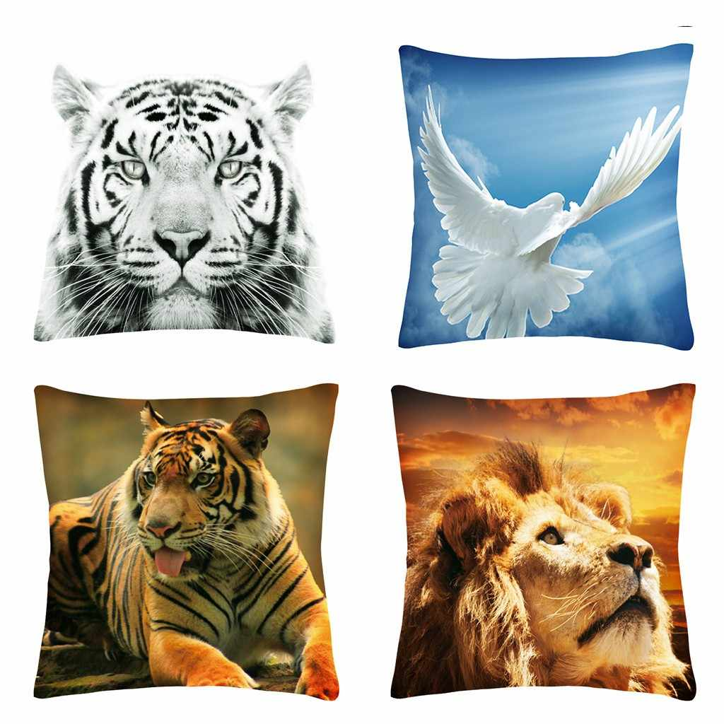 Gajjar Polyester Printing Animal Lion Tiger Sarung Bantal Fashion Rumah Sofa Bantal Cover Nyaman Kursi Sarung Bantal Dropship