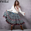 Artka Women's 2015 Autumn New Vintage Shirred Printed Stitched Skirt Comfortable Cotton All-Match Skirt QA15053C