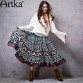 Mujeres artka 2015 Otoño Nueva Vintage Shirred Cosida Impresa Falda de Algodón Cómodo Del Todo-Fósforo Falda QA15053C