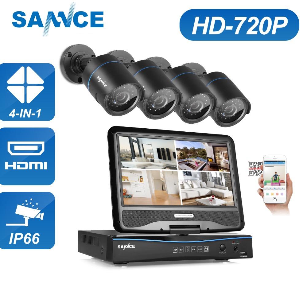 Sistema de vigilancia SANNCE 720P DVR de 4 canales con monitor LCD de - Seguridad y protección