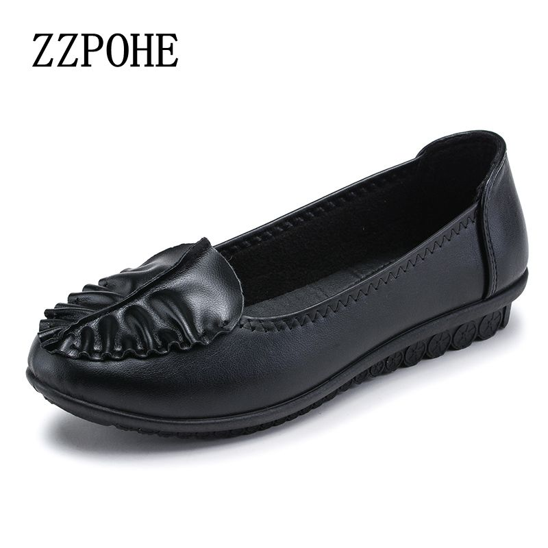 ZZPOHE New fashion mother shoes casual comfortable soft leather shoes ladies single shoes flat large size women work shoes 40 41 sgesvier comfortable senior leather fabrics simple and easy red green and four color yellow women flat shoes size 34 41 xt21
