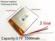 De Polímero Íon para Mp5 3 Linha 3.7 V 1500 Mah de Lítio Lipo Bateria Recarregável Células Mp3 Mp4 Pad Diy E-book Bluetooth Cabeças