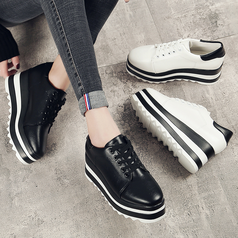 platform shoes woman 2018 spring pumps women shoes wedges lace up high heels 6.5 cm leather shoes white black cross tie