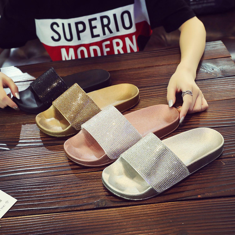 c9e59a265 2018 Chic Women Slippers. Flip Flops Peep Toe Rhinestone. Sandals Summer  Glitter. Crystal Platform Shoes Woman. Woman Flat Beach Slides