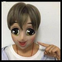 2018 New Female Sweet Girl Half Head Kigurumi Mask With BJD Eyes cartoon Cosplay Japanese Anime Role Lolita Mask Crossdress Doll