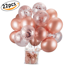 Confetti Balloons Rose Gold with Circle Paper Confetti,Dots Filled Latex Clear Party for Party, Weddi
