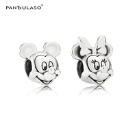 Cartoon Mouse Couple Vintage Beads for Silver 925 Charms Bracelets Jewelry Boy & Girl Love Sign Silver Beads for Jewelry Making