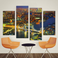 QKART 4 Pieces Canvas Art Cityscape Painting Wall Pictures for Living Room Home Decor Europe Effiel Overview No Frrame