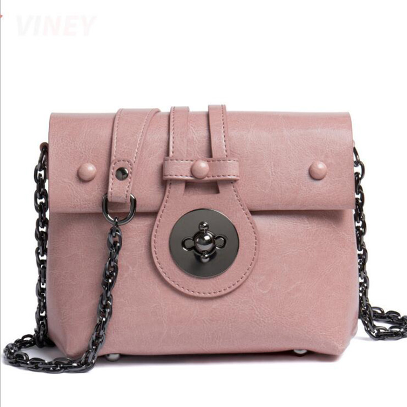 2018 New Fashion Women Cow Leather Shoulder Bag Solid Small Chain Girls Crossbody Purse Lock Flap Bag Pink Black Brown Casual pink solid color off shoulder crop bodycon sweaters vests