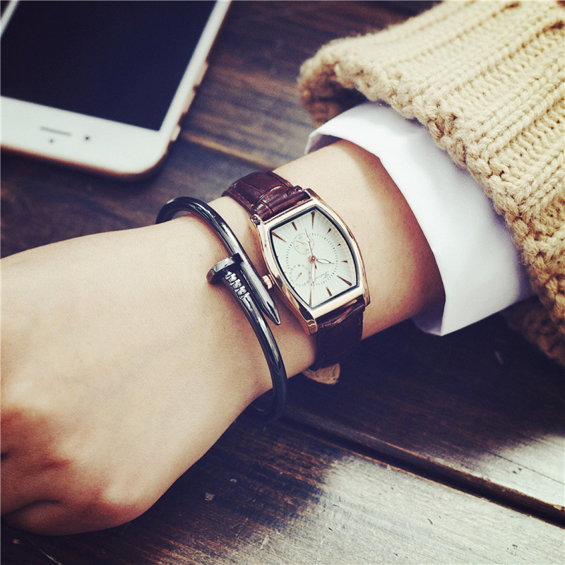 100 New 2016 Luxury Tonneau Small Dial Cute Leather Dress Casual Quartz Wristwatches Wrist Watch for