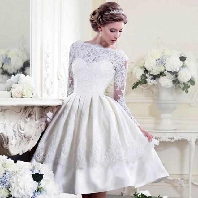 New Design Boat Neck Short Wedding Dresses 2017 Lace Appliqued ...