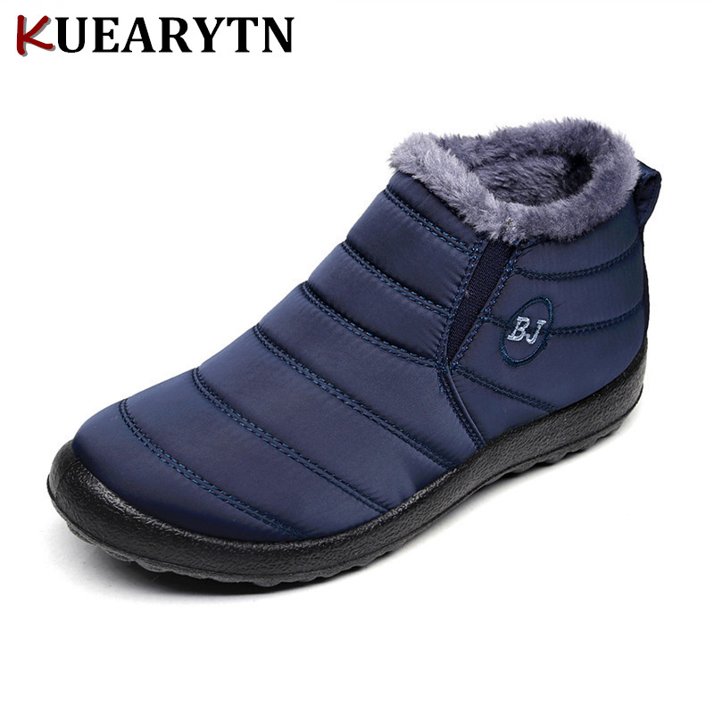 New Fashion Men Winter Shoes Solid Color Snow Boots Plush Inside Antiskid Bottom Keep Warm Waterproof Ski Boots Size 35 - 46