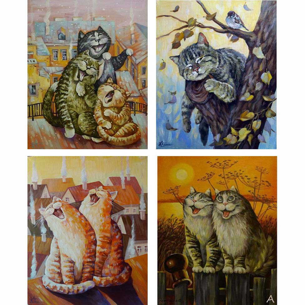 Buy funny cat 3d diy diamond paintings for Mosaic home decor