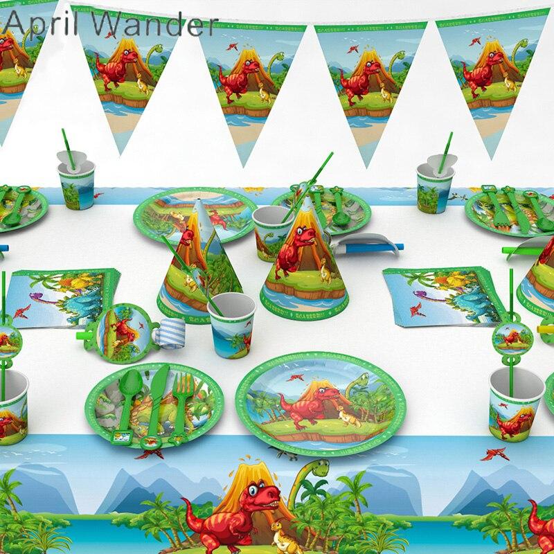 Doeltreffend Jurassic Tyrannosaurus Rex Party Wegwerp Servies Plaat Servet Tafelkleed Cup Dinosaurus Verjaardag Feestartikelen Decoraties Rijden Met Een Brullende Handel