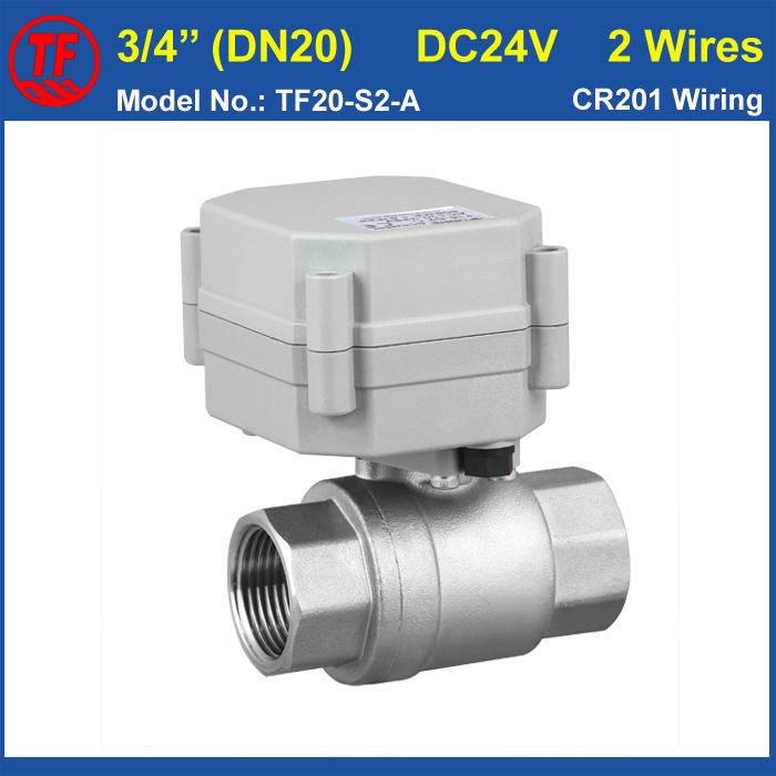 2 Wires DC24V DN20 Stainless Steel Full Port Electric Water Valve BSP/NPT Female 3/4'' High Qulaity Metal Gear TF20-S2-A tf20 s2 c high quality electric shut off valve dc12v 2 wire 3 4 full bore stainless steel 304 electric water valve metal gear