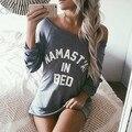 2016 New Fashion Women Casual Boat Neck Raglan Long Sleeve Letter Long T-shirt Tops