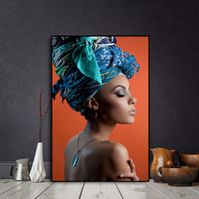 African Nude Woman Headband Portrait Nordic Canvas Painting Posters and Prints Scandinavian Wall Art Picture for Living Room