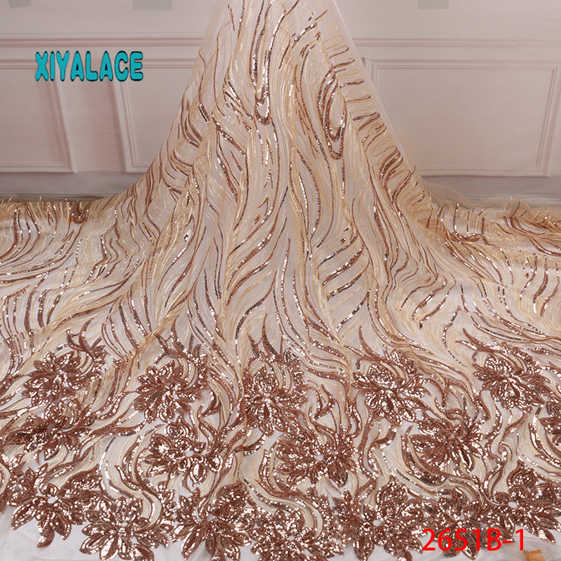 African Lace Fabric Luxury High Quality French Organza Lace Fabric 2019 New Arrival Sequins Lace Fabrics For Wedding YA2651B-1(China)