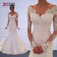 XCOS Vestido de noiva Long Sleeves Mermaid Wedding Dresses Sheer Tulle Back Sexy Mermaid Wedding Gowns Robe de mariage Gelinlik
