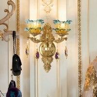 Европейский бронзовый E14 европейской классической Золотой латунь настенный светильник бра из латуни с стекло оттенок современный латунь б