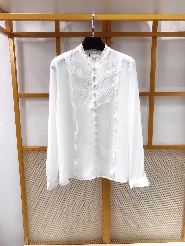 여성 셔츠 2019 봄 여름 덮여 단추 실크 블라우스 셔츠-에서블라우스 & 셔츠부터 여성 의류 의  그룹 1