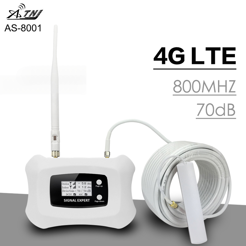 Full Intelligent 70dB Gain 4G LTE Signal Repeater 4G LTE 800 Band 20 Mobile Phone Cellular Signal Booster Amplifier For Europe
