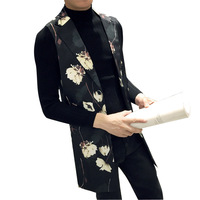 Male Flower Printed Long Slim Fit Suit Vest Coat Fashion Casual Sleeveless Jacket Mens Suit Waistcoat
