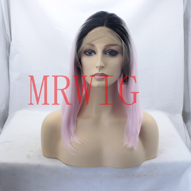 MRWIG Hair Black Ombre Pink 12Short Bob Straight Lace Front Wigs Heat Resistant Middle Part 230g Fastshipping
