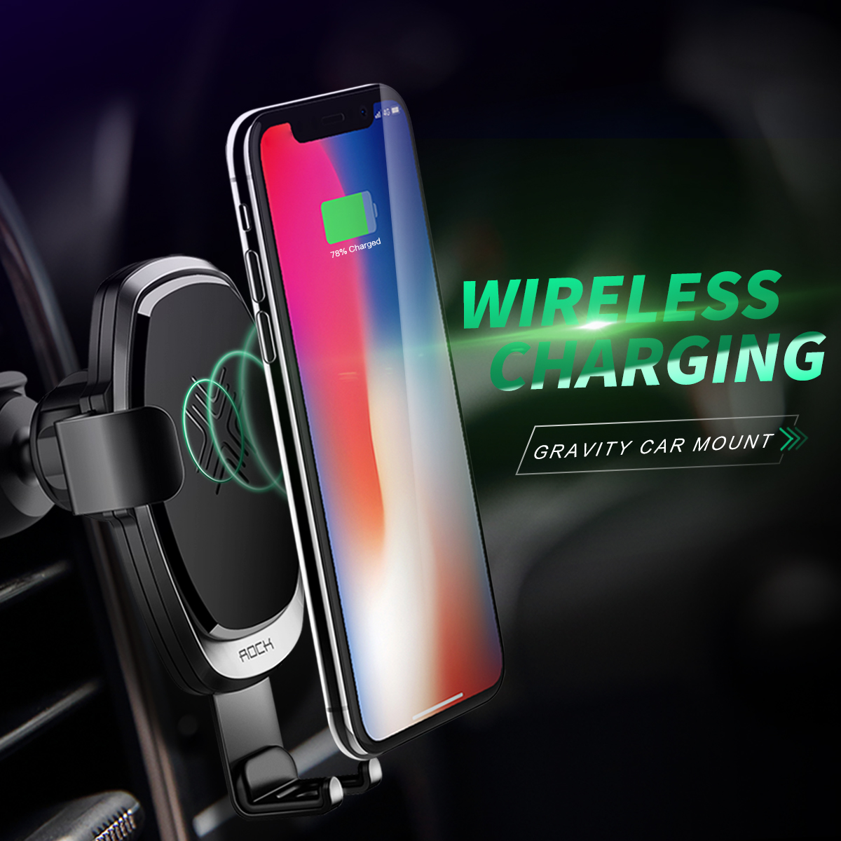 HTB1h4JsKx9YBuNjy0Ffq6xIsVXaL - 10W QI Wireless Car Charger Gravity Holder , ROCK for iPhone X 8 Plus Samsung Galaxy S8 S7 Note 8 Quick Charge Charging Stand