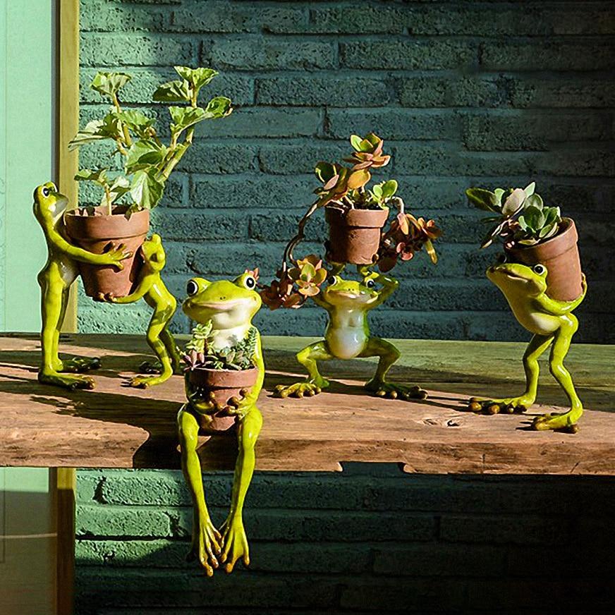 1pc Original Design Cute Resin Frog Flower Pot Succulent Plants Pots Micro landscape Pot Home Garden