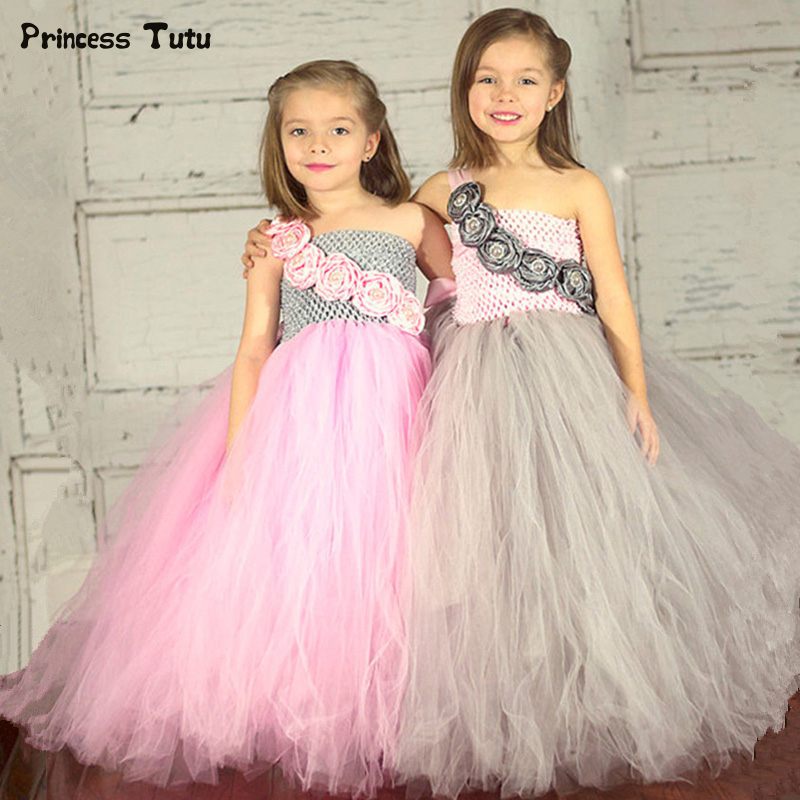 Pink Grey Flower Princess Tutu Dress Girl Kids Pageant Birthday Party Ball Gown Dress Tulle Girls Wedding Flower Girl Dress 1-14 gorgeous pink and white girls tutu dress with headband princess birthday party wedding costume photo props tulle dress ts110