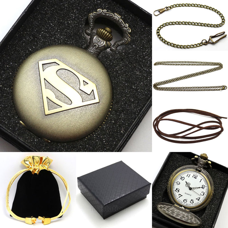 Vintage Bronze Steampunk Superman Pocket Watch With Necklace Chain With Gift Bag Gift Box P442CKWB