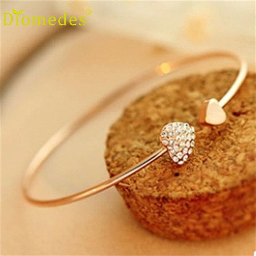 Diomedes HOT Fashion Girl Simple Love Heart Rhinestone Open Bangle Bracelet Popular Casual Bracelet #0217