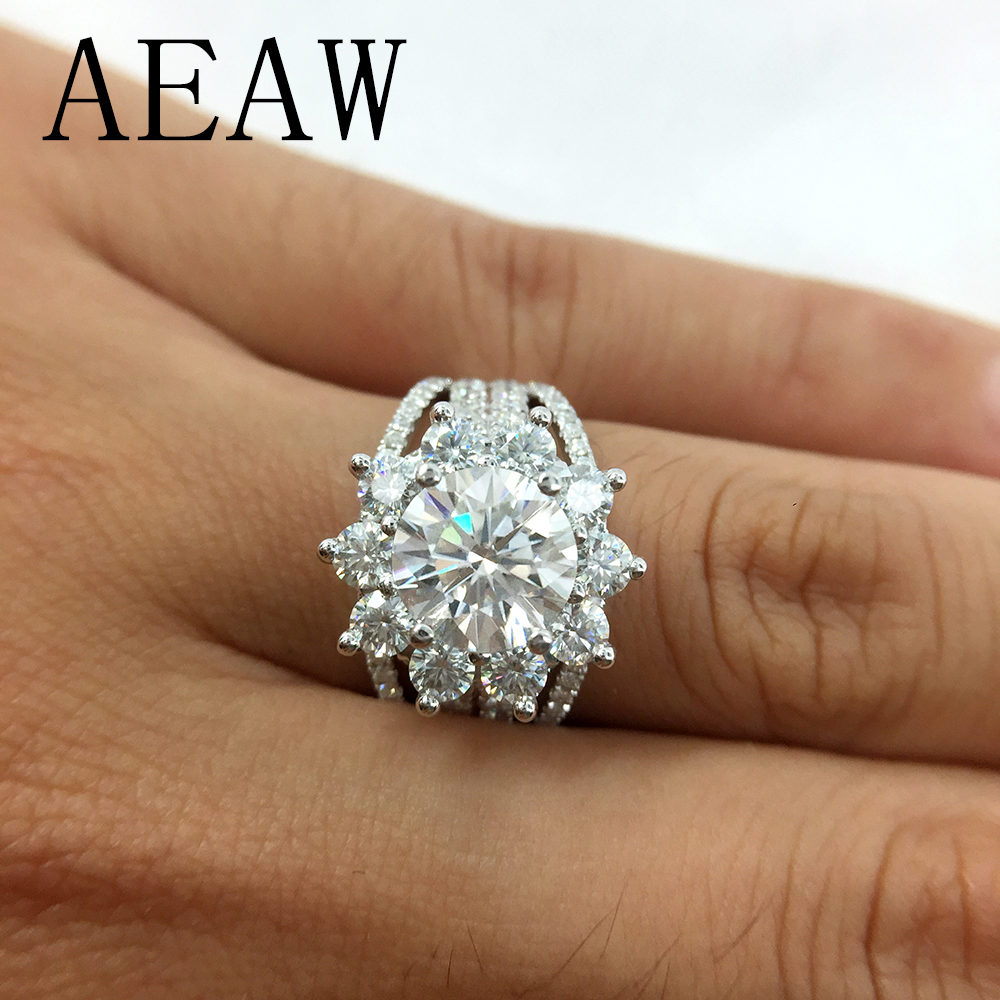 AEAW Moissanites Engagement Ring 7mm 3CTW Df Color Lab Diamond Accent 14k White Gold Wedding Rings For WomenAEAW Moissanites Engagement Ring 7mm 3CTW Df Color Lab Diamond Accent 14k White Gold Wedding Rings For Women