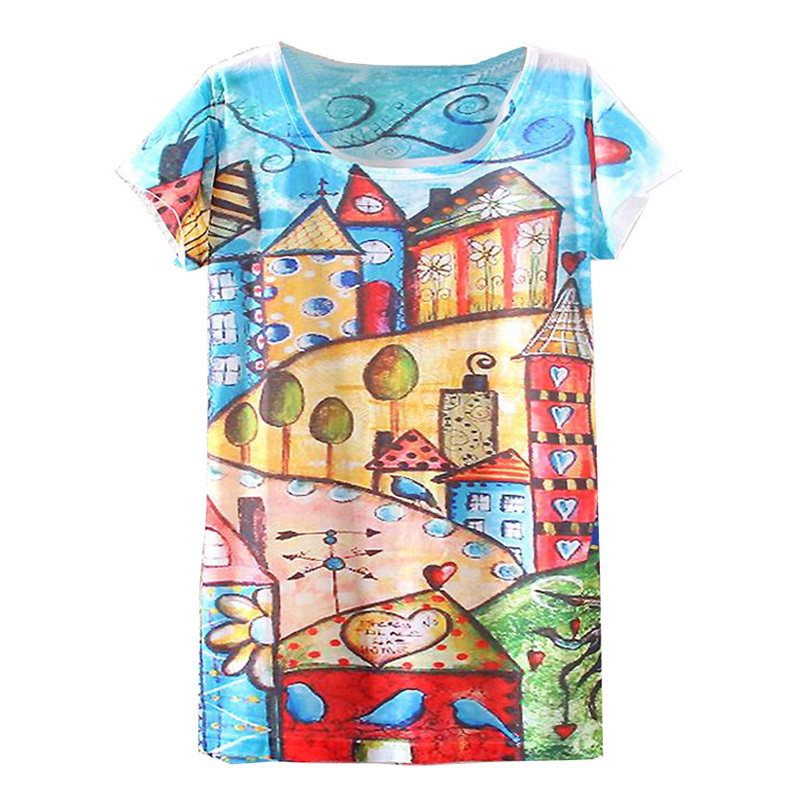 2febf315 2017 New Hot Fashion Vintage Spring Summer Digital Printing Girl Lady  Women's Short Sleeve T shirt Cotton Printed Tee T Shirts-in T-Shirts from  Women's ...