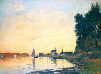 100% handmade Oil Painting Reproduction on Linen canvas,argenteuil-late-afternoon by Claude Monet,museum quality,Free DHL