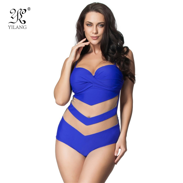 a5f430fa32acc L-6XL Plus Size Swimwear One Piece Swimsuit Summer Holiday Bathing Suit  Transparent Lace Swim Wear Sexy Swimming Suit For Women