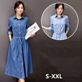 Free Shipping 2016 Fashion Denim Dresses Women Long Knee Length Plus Size S-XXL Single-breasted Jeans Long Sleeve Spring Dress
