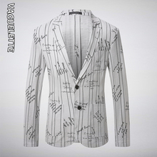VAGUELETTE White Linen Blazer Men Letter Printed Jackets Casual&Stylish Suit Jacket 2019 Fashion Striped Blazer For Men M-3XL