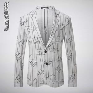VAGUELETTE White Linen Blazer Men Letter Printed Jackets Casual&Stylish Suit Jacket 2019 Fashion Striped Blazer For Men M-3XL