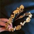 Барокко роскошный старинный яркое золото оставляет жемчужные hairbands женщины девушки головная повязка для волос группа свадебные аксессуары дефиле ювелирных изделий