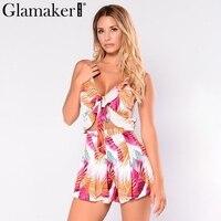 Glamaker Flower Bow Romper Sexy Bodysuit Women Overalls Cami V Neck Beach Summer Style Playsuit Female