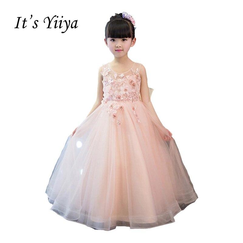It's YiiYa O-neck Sleeveless Zipper Illusion   Flower   Appliques Floor-length Ball Gown Princess   Flower     Girls     Dress   Communion TS239