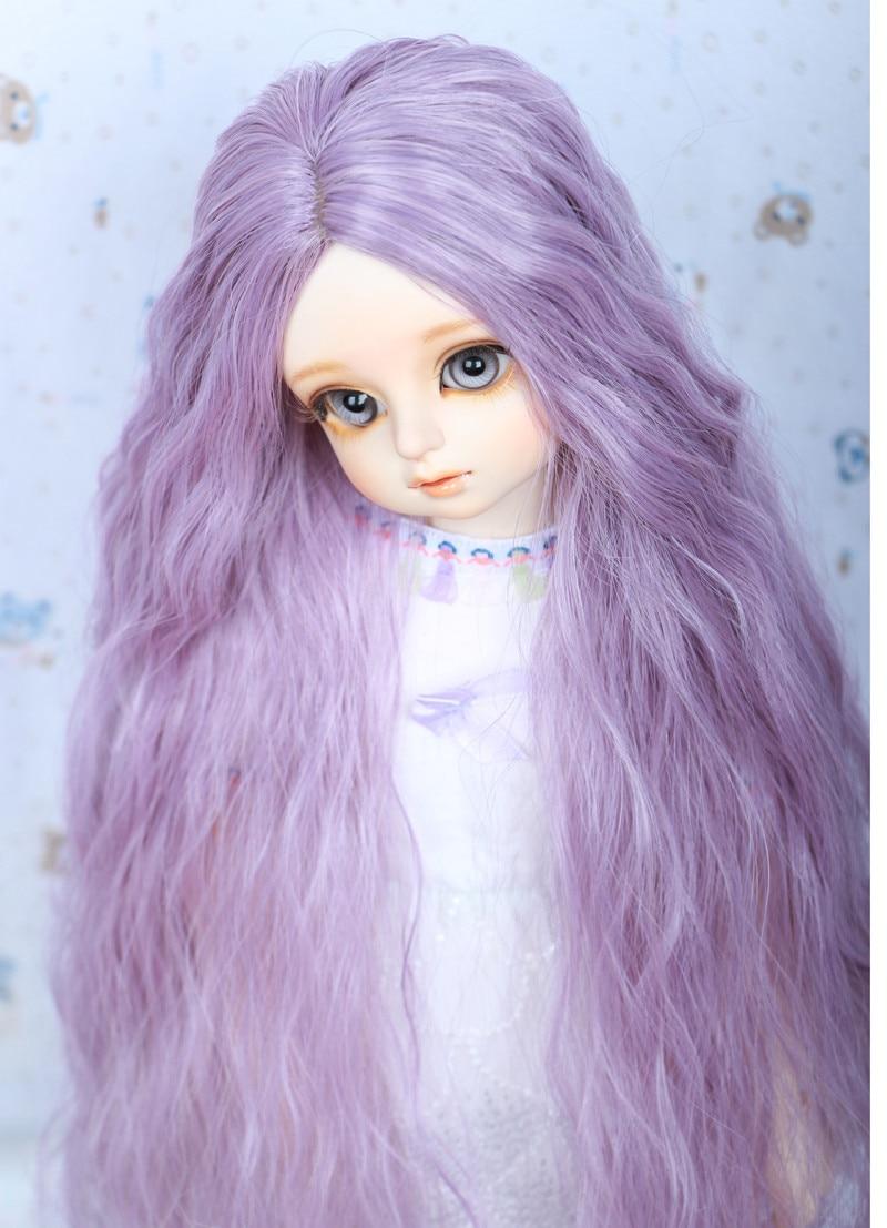 1/3 BJD Wig Pullip Dal DD SD LUT Dollfie Doll Wig High Temperature Hair 8-9 inch Long Purple Curly Wig